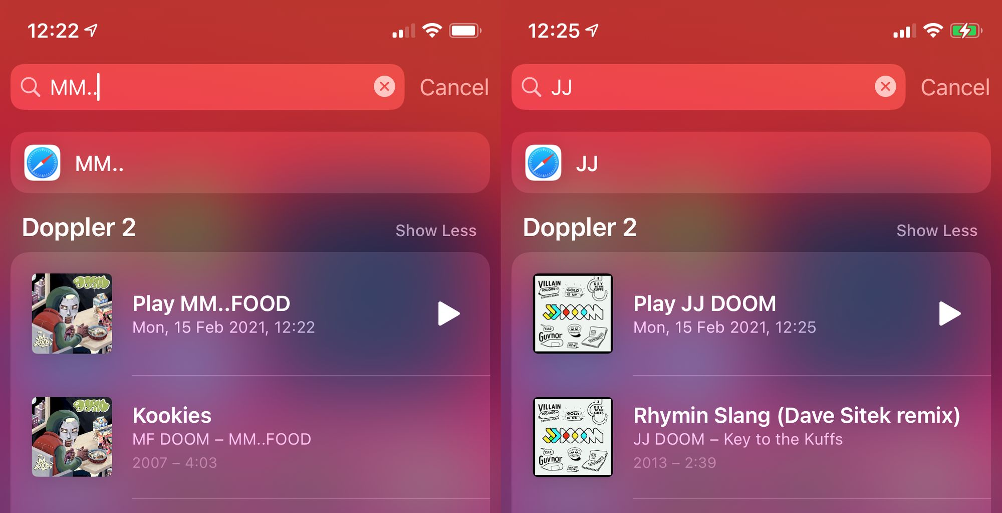 Screenshots of Doppler appearing in iOS Spotlight search results